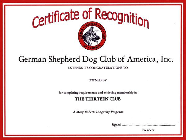 GSDCA 13 Club Certificate of Recognition